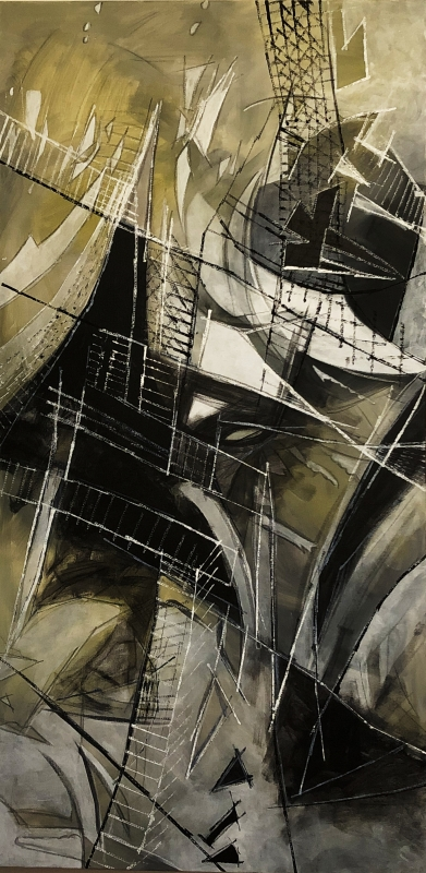 15  - Patricia Gund | Shadow Composition in gray, black and white | Acrylic on canvas, grease pencil -  24x48 | $900