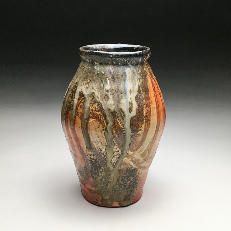 20  - Evan Hestekin | Orange Shino Vase | Clay/Pottery -  5.5x8 | $125