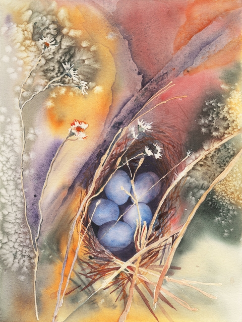 47 - Lindamerry  Udell | Finch Eggs | Watercolor -  16x20 | $250