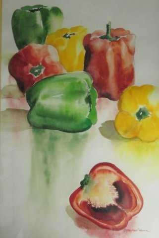 Peppers by Patricia Mayhew Hamm | Watercolor | $195