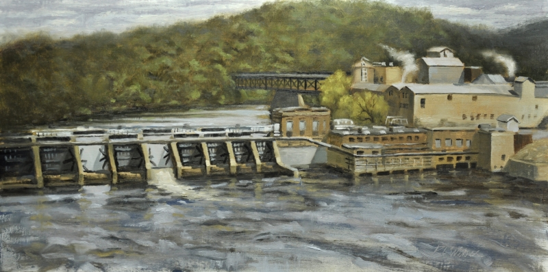 Cascade Paper Mill High Above the Chippewa by R.L. Weber - 12 x 24 | $1000